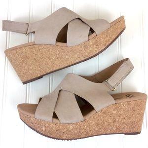 Clarks Annadel Fareda cork wedge platform sandals
